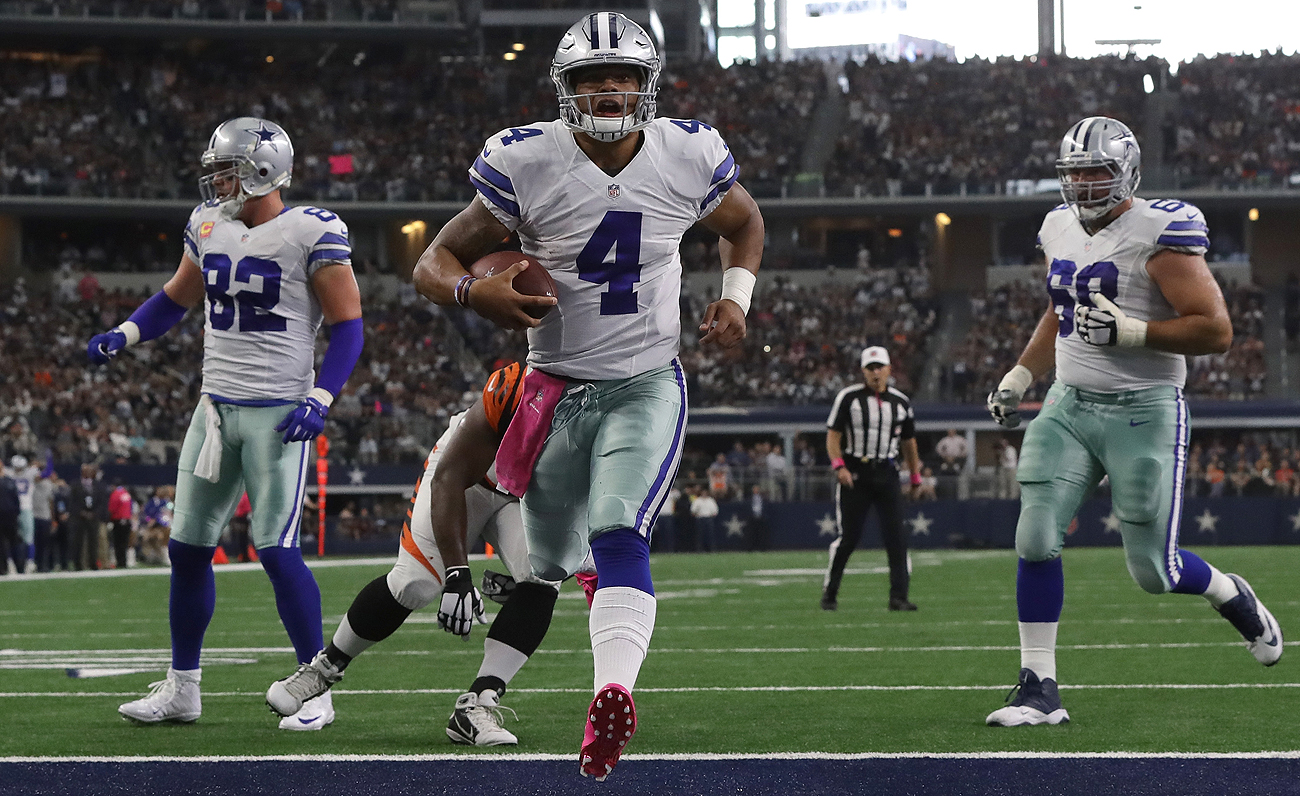 Rookie Dak Prescott has seven total touchdowns and no interceptions in leading the Cowboys to a 4-1 start this season.
