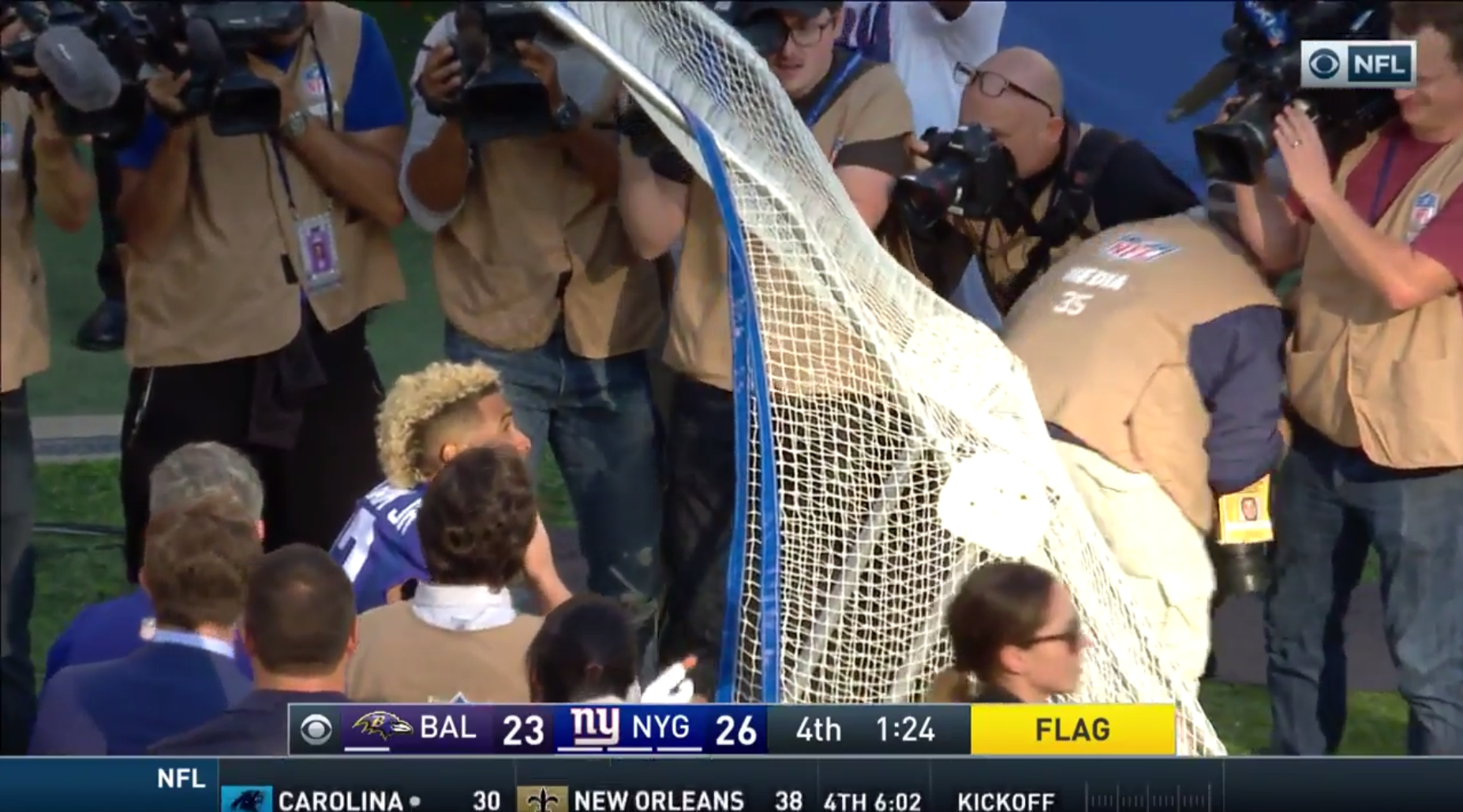 giants ravens odell beckham kicking net celebration video