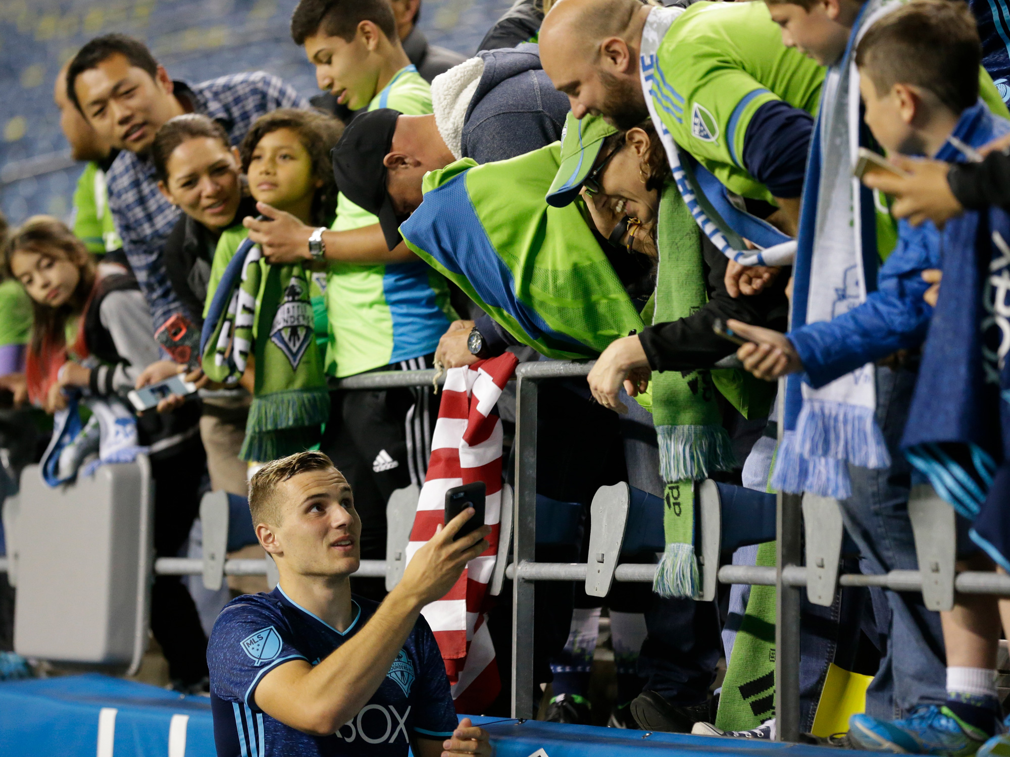 Jordan Morris talks to Seattle Sounders fans at CenturyLink Field