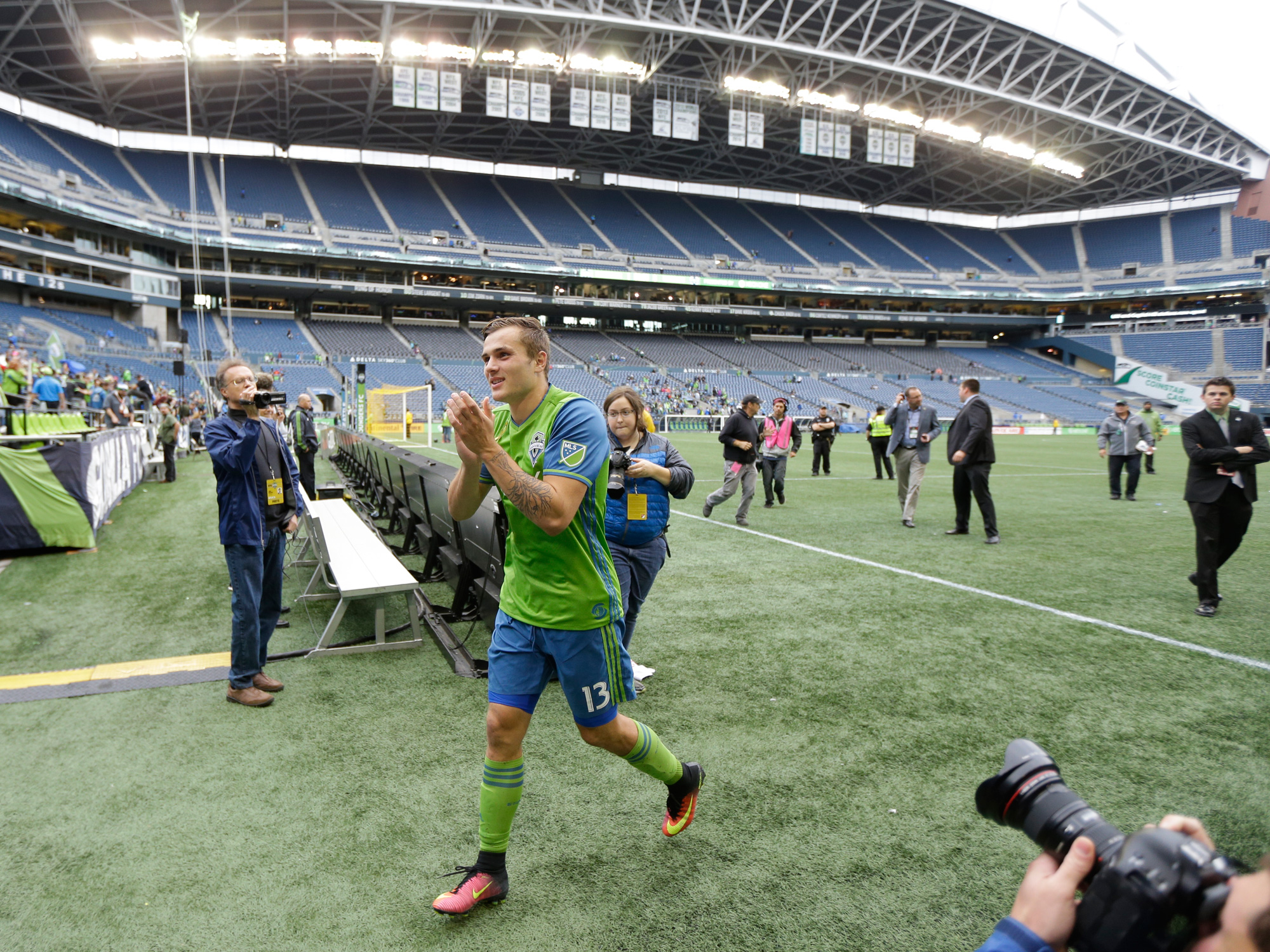 Jordan Morris runs off the field at CenturyLink Field