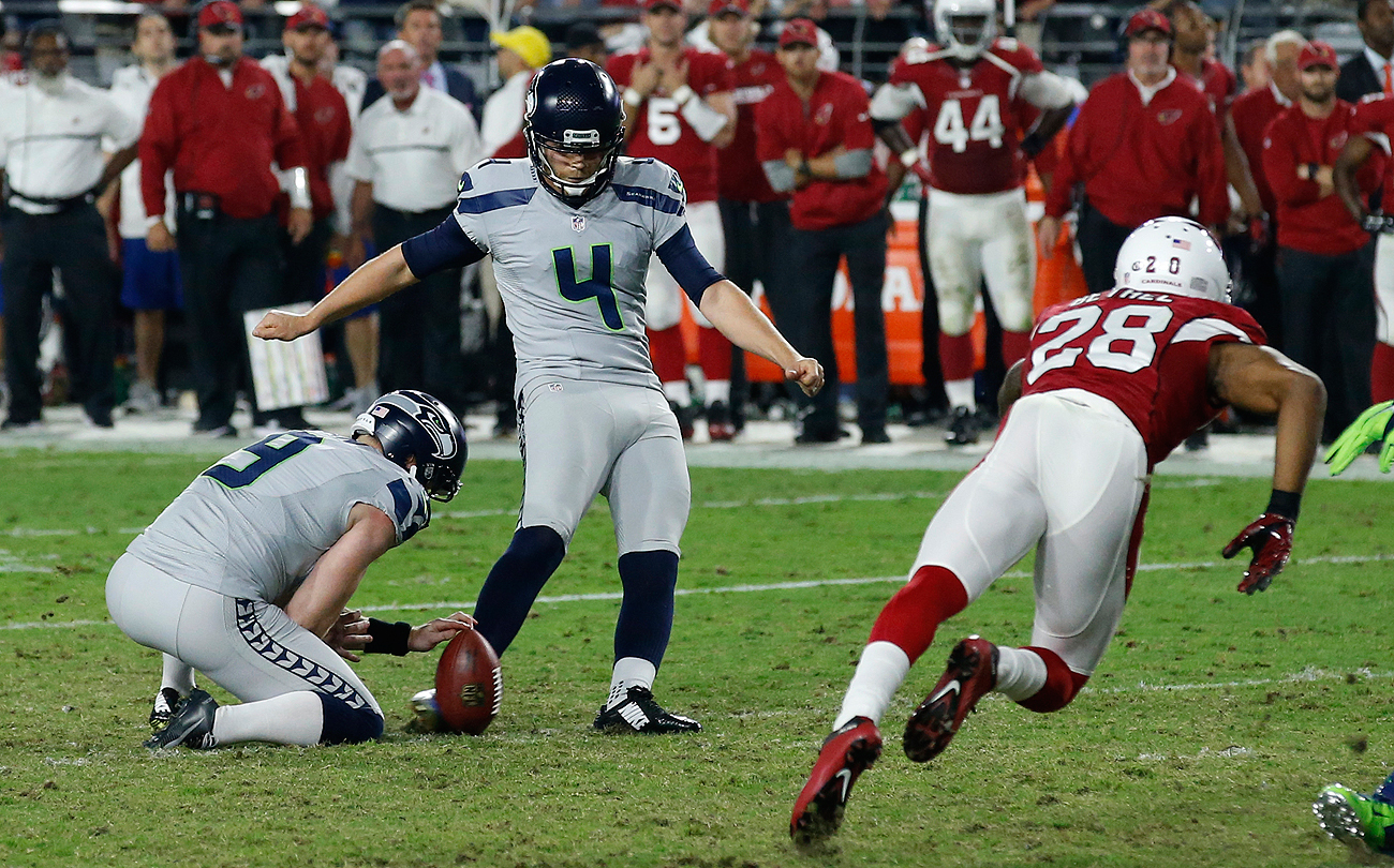 Stephen Hauschka had made two field goals Sunday before missing a chip shot in the final seconds.