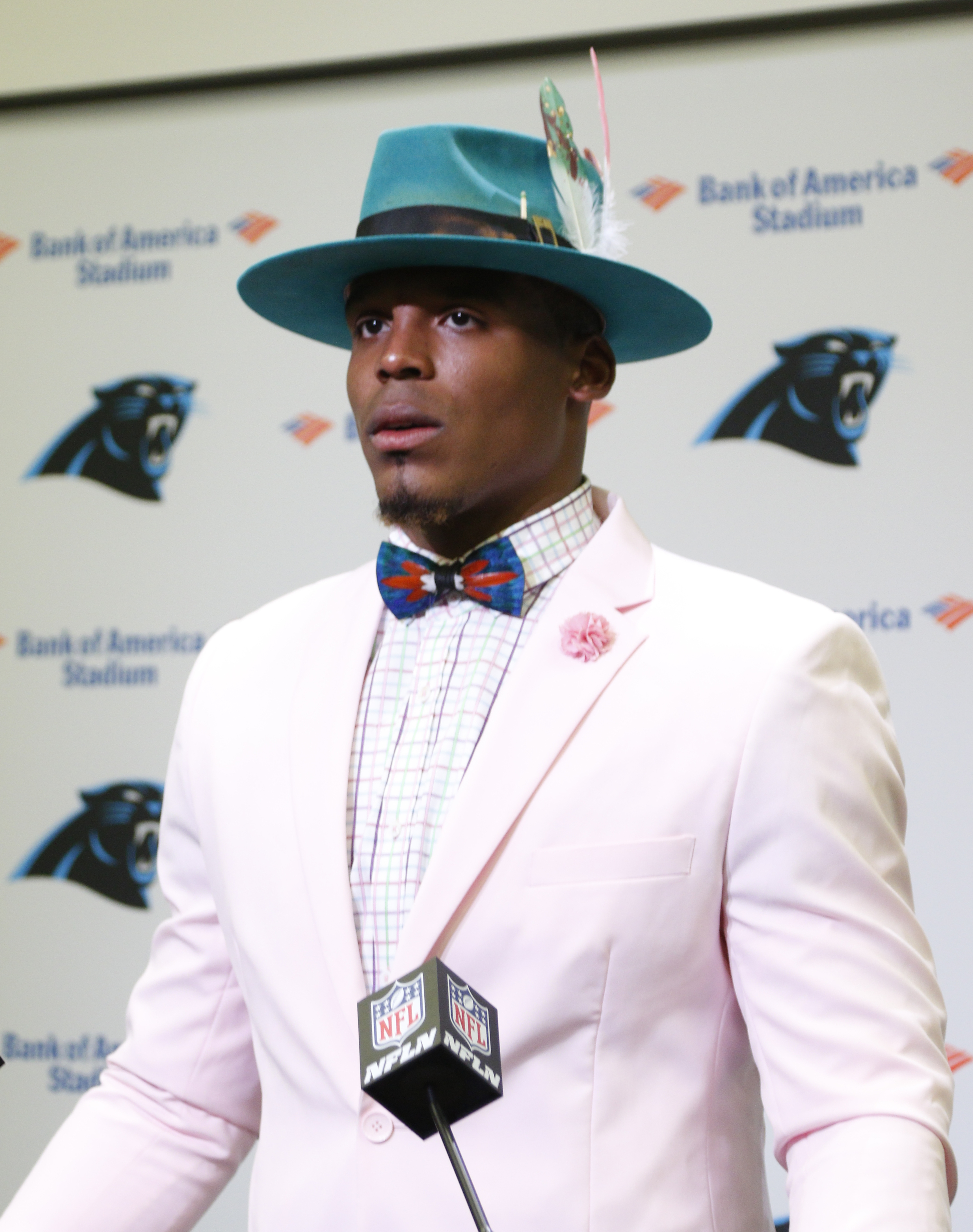 Cam Newton dressed up like it was Easter Sunday