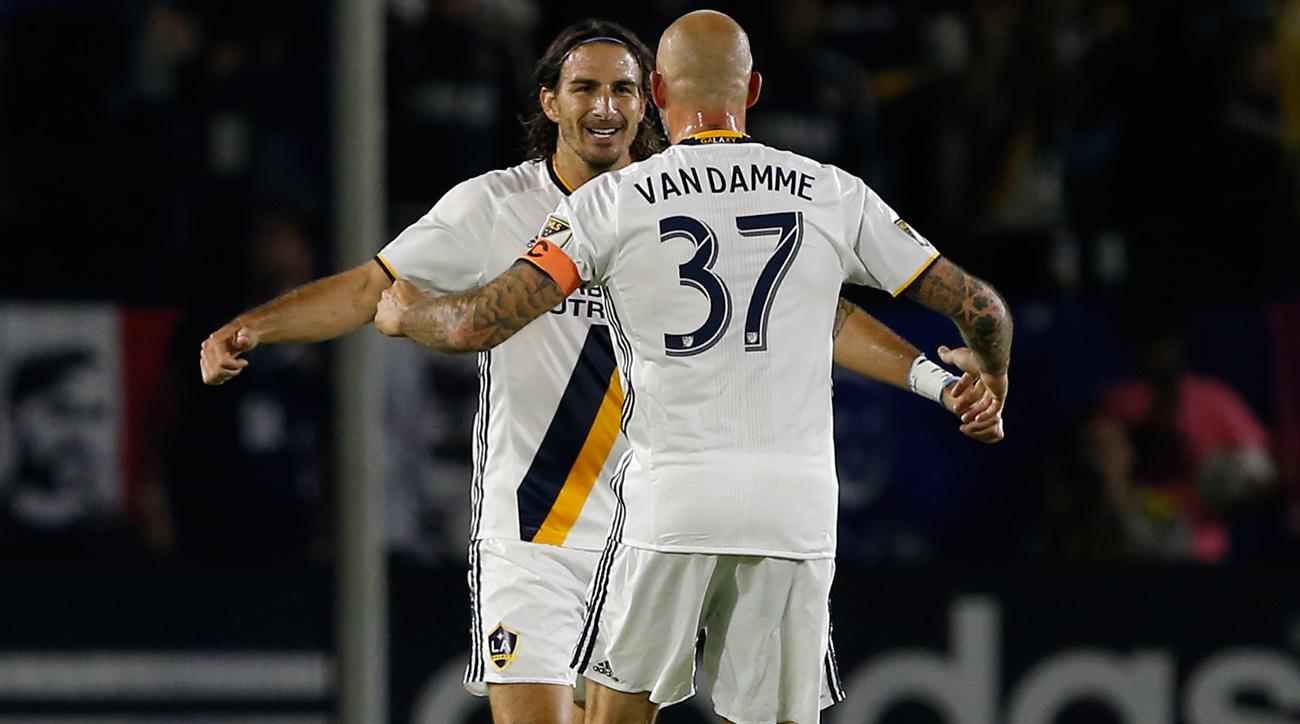 Alan Gordon, Jelle Van Damme help the LA Galaxy beat the Colorado Rapids in the MLS playoffs