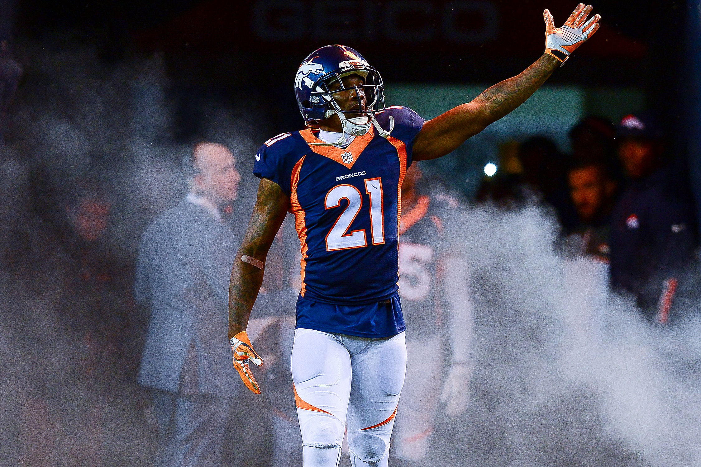 The flashy, confrontational complement to Chris Harris Jr.'s technical dominance on the perimeter, Talib has 11 passes defensed, 20 tackles and three interceptions in his first eight games.