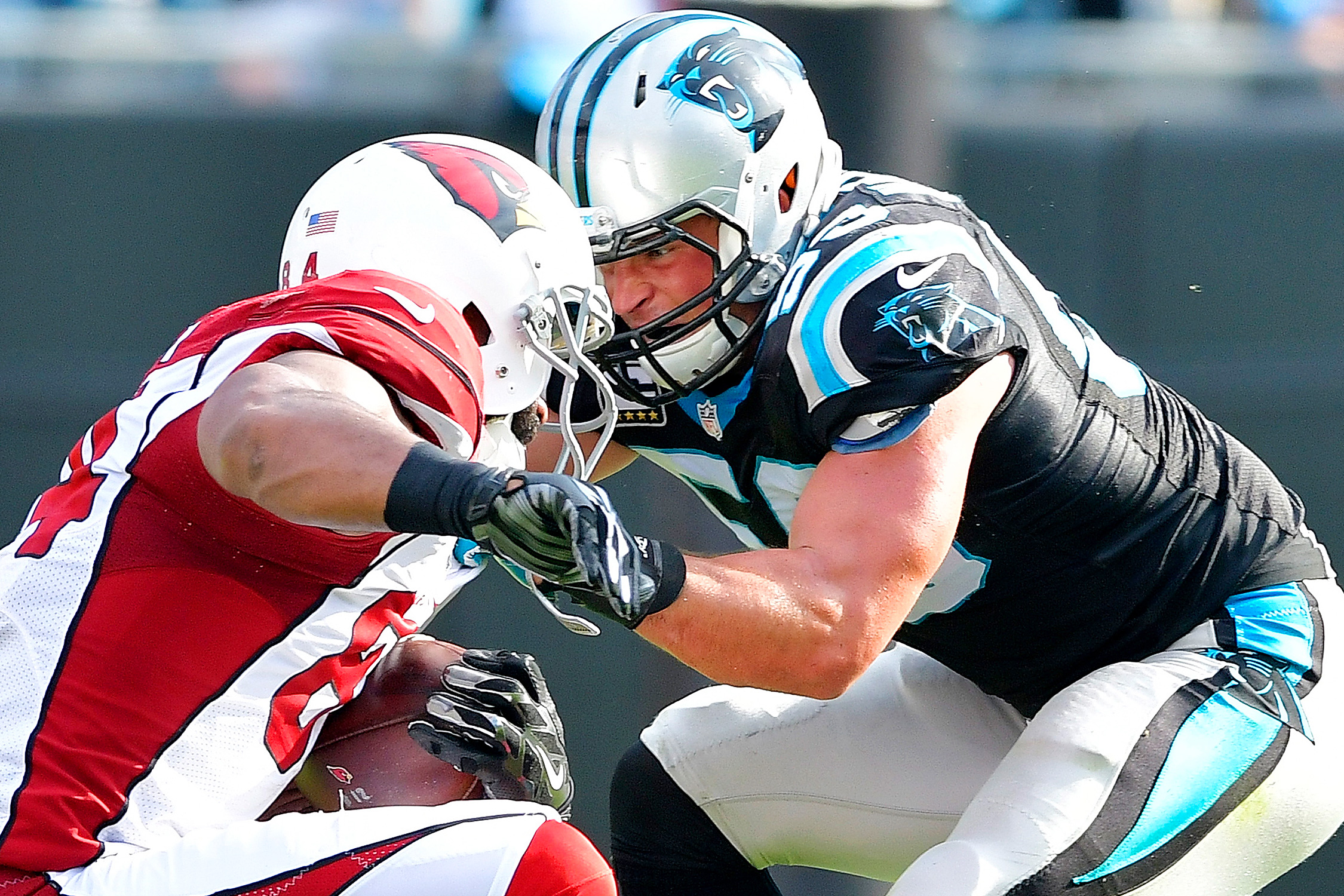 Things look different for the struggling Panthers this year, but Kuechly has stayed the same: He's still a dominant force in the Carolina defense. He's second in the league with 74 combined tackles (52 solo).