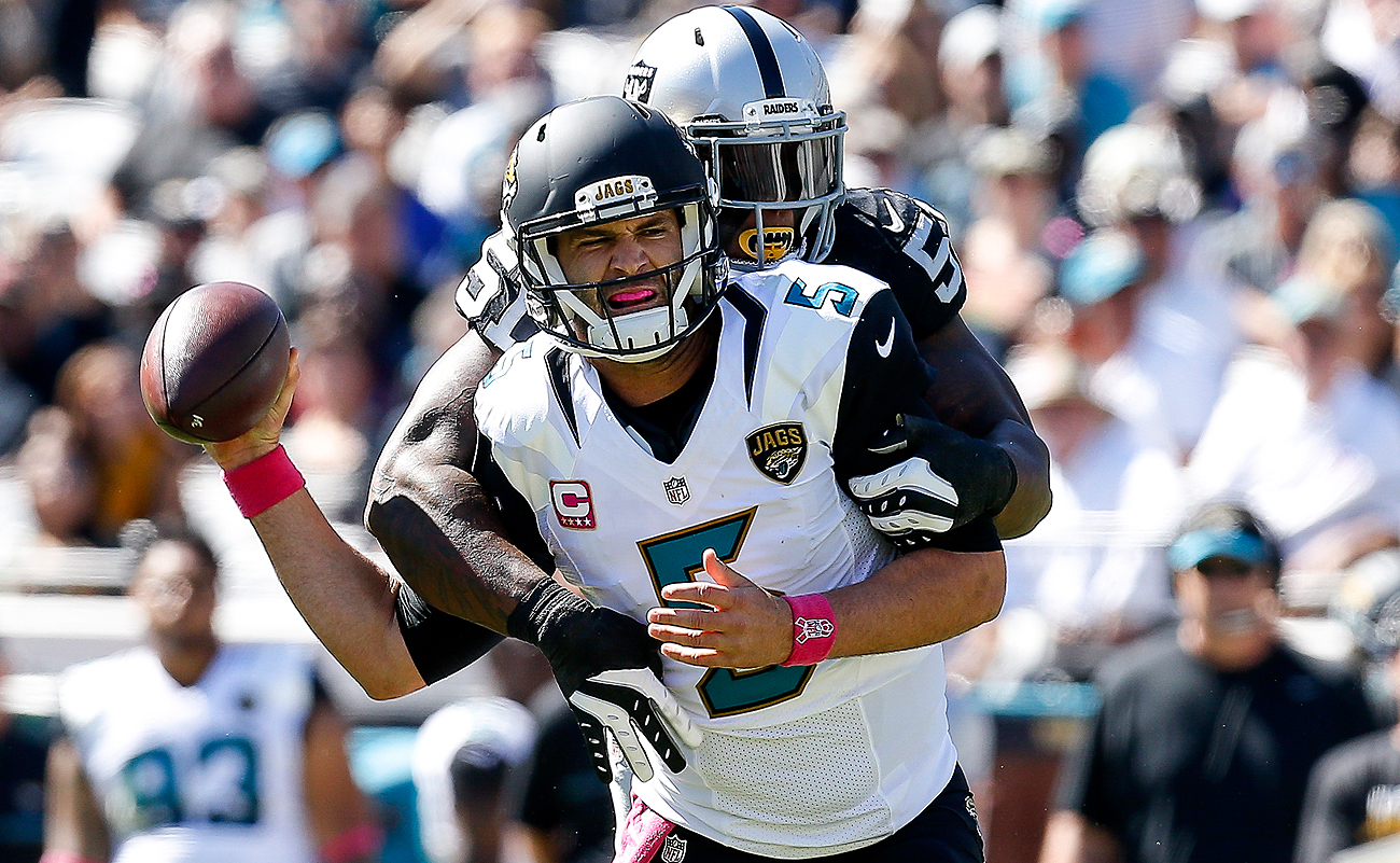 Blake Bortles' 80.3 passer rating ranks 27th in the NFL among quarterbacks with at least 100 passing attempts this season.
