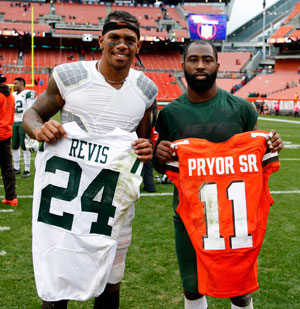 Terrelle Pryor and Darrelle Revis exchanged jerseys after their Week 8 showdown.