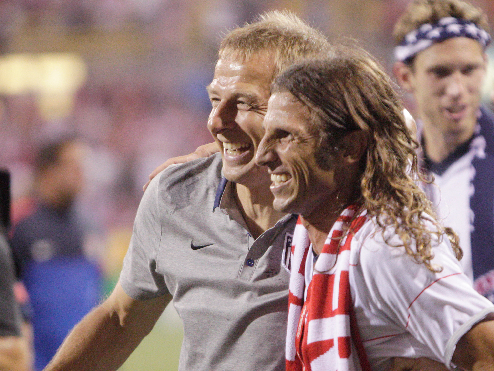 Frankie Hejduk and Jurgen Klinsmann after the USA beat Mexico in 2013