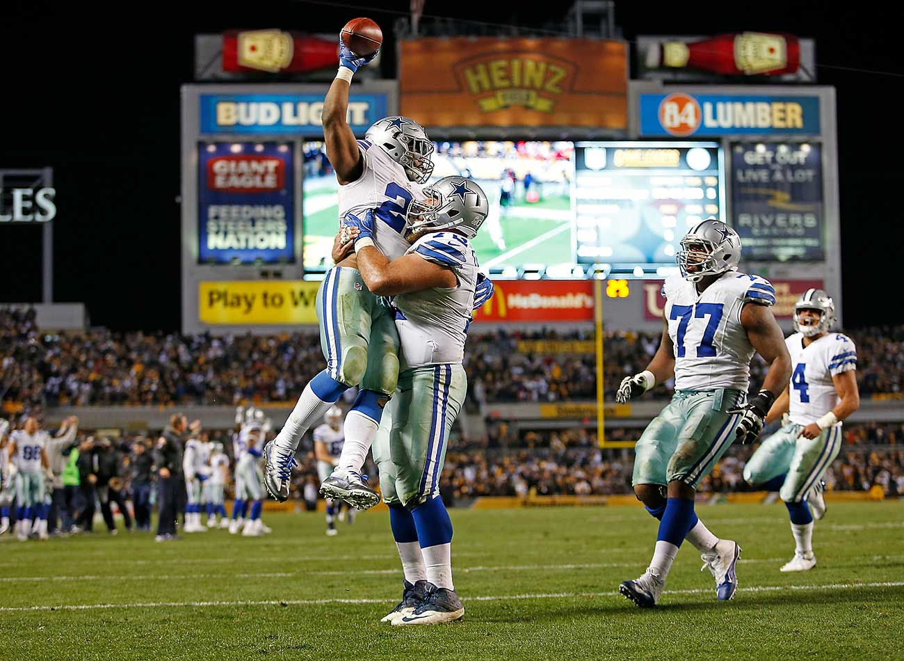 Led by rookie quarterback Dak Prescott and rookie running back Ezekiel Elliott, the 2016 Cowboys bounced back from losing their season opener against the New York Giants and rolled to a franchise record 10 consecutive wins.