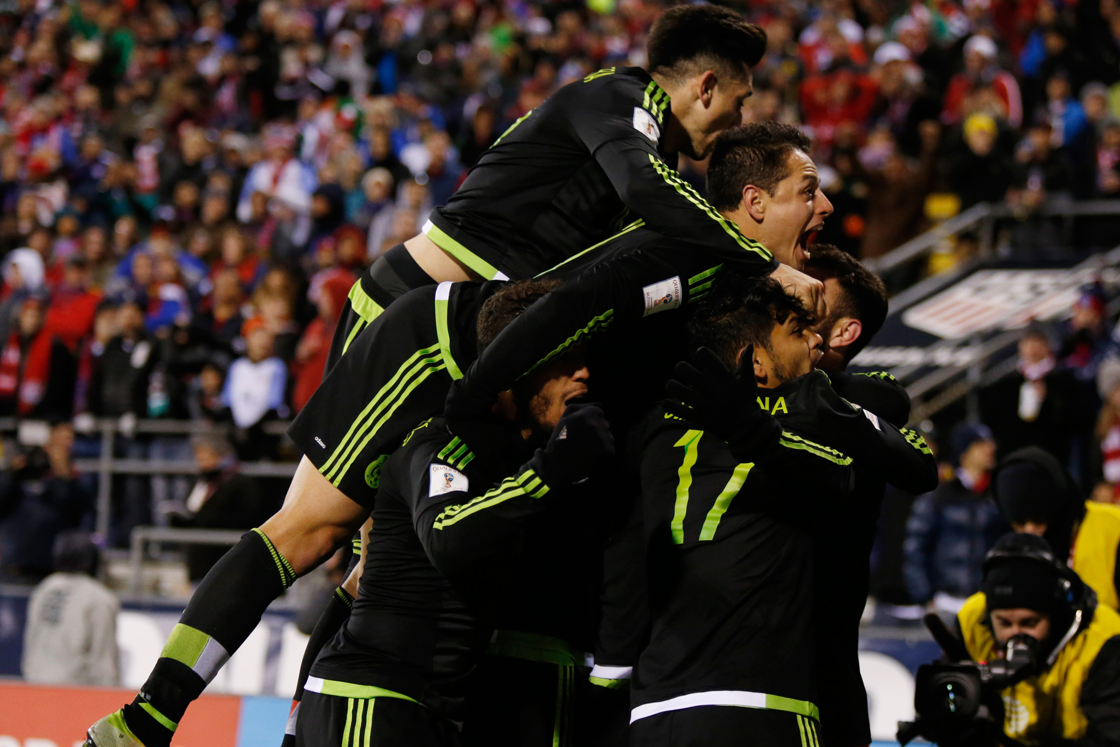 Mexico players celebrate Rafa Marquez's late winner, which delivered a 2-1 triumph for El Tri over the USA to open the CONCACAF Hexagonal. It ended years of U.S. domination over Mexico in Columbus.