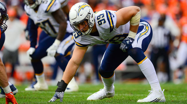 Joey Bosa is still most comfortable playing with his hand on the ground, but is adjusting well to other positions.