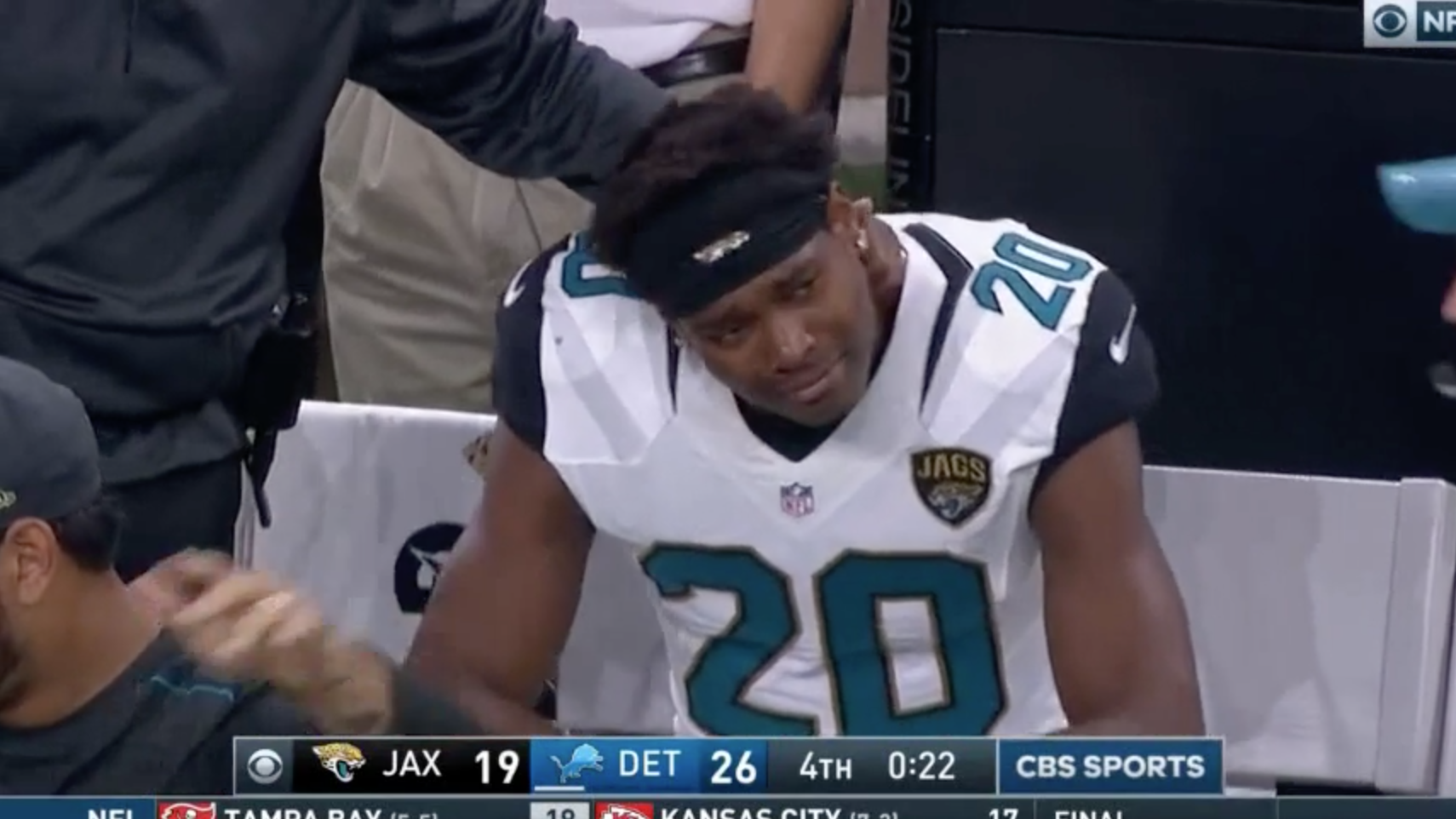 Jalen Ramsey Jaguars DB in tears during Lions loss