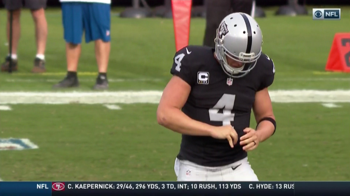 You figure that if Derek Carr made it through last week's game with a dislocated finger he can do it again, this tine against the Bills.  Well, you guessed wrong.