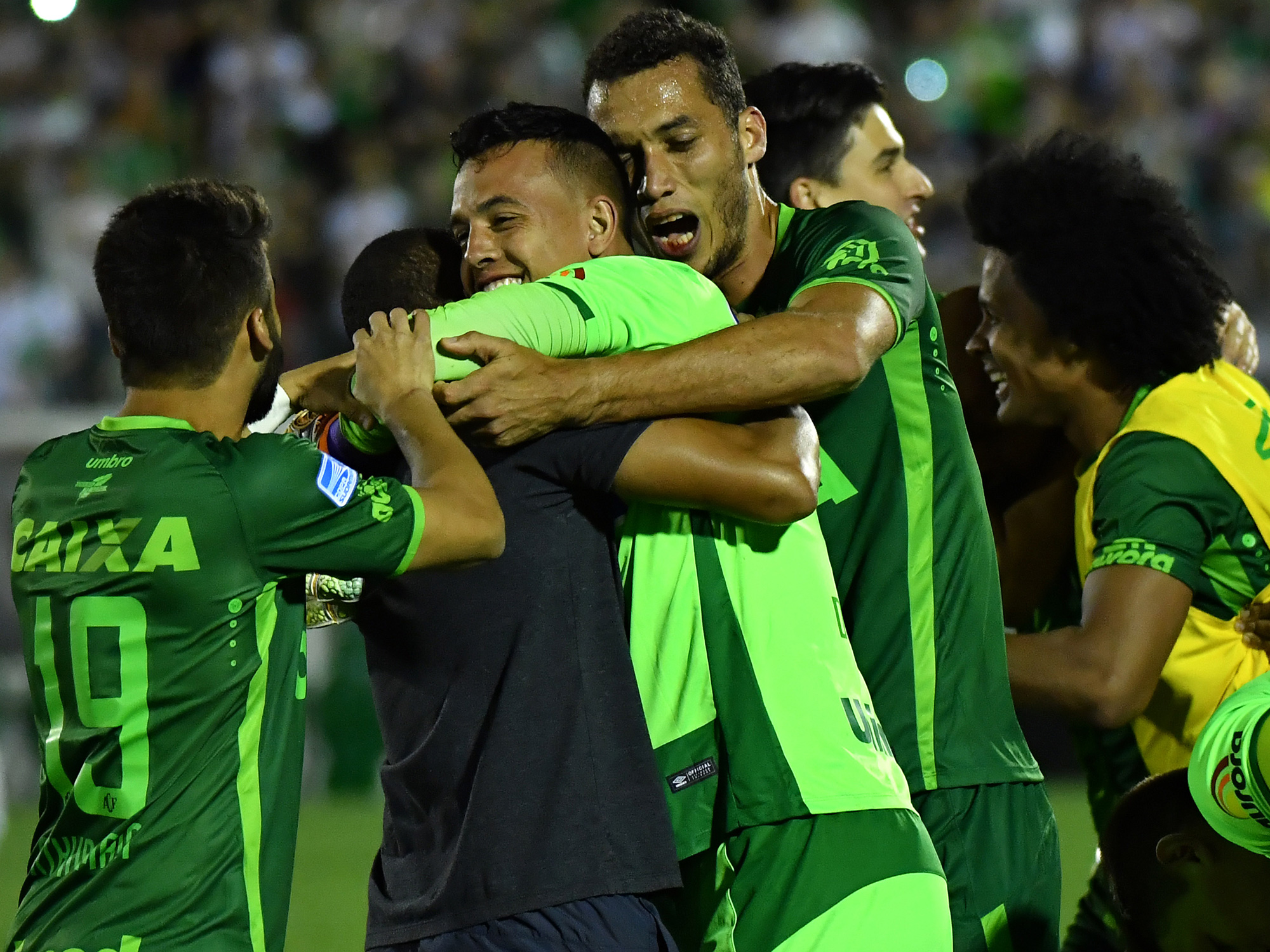Chapecoense players celebrate during the Copa Sudamericana