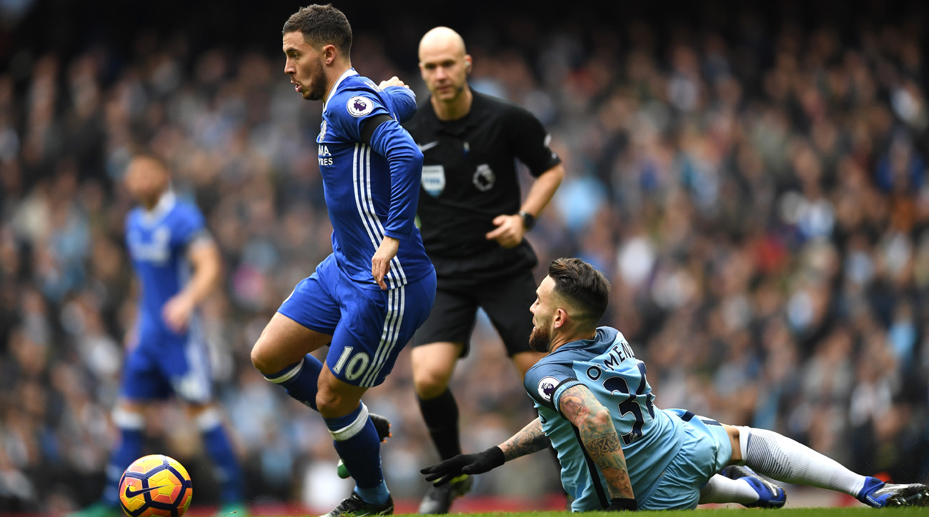 Eden Hazard and Chelsea get by Nicolas Otamendi and Manchester City