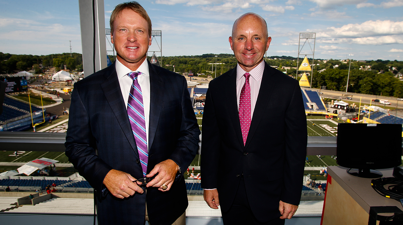 Sean McDonough (right) joined Jon Gruden in the Monday Night Football booth this season.