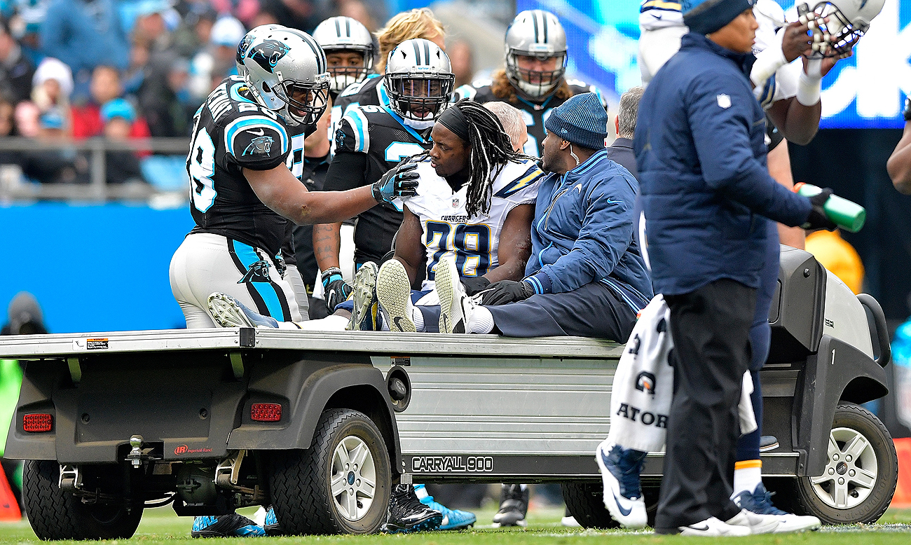 Melvin Gordon was carted off the field Sunday with a hip injury. The standout second-year player has 997 rushing yards.
