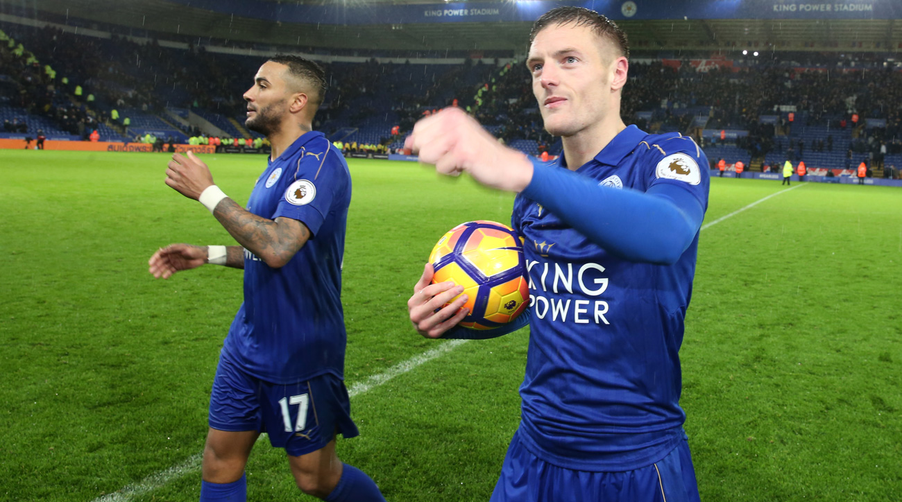 Jamie Vardy scored a hat trick for Leicester City against Manchester City