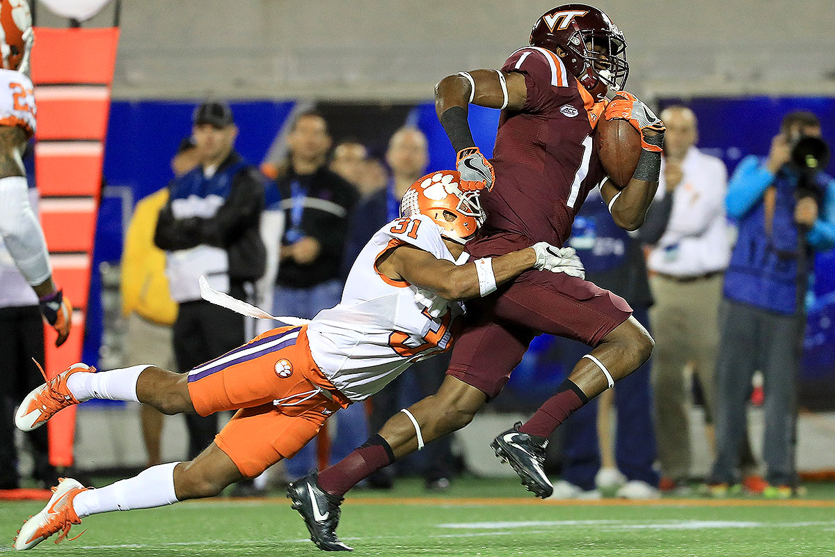 "Ford relishes the chance to use his 6' 2"" frame to make contested catches on jump balls and in traffic. Arkansas both scores and allows just over 30 points per game, and Ford will be the Hokies' go-to weapon if it turns into a track meet."