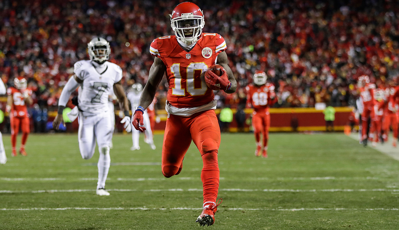 Kansas City's Tyreek Hill is the first rookie in 51 years to score on a punt return, kick return, on the ground and through the air. He has nine total TDs this season.
