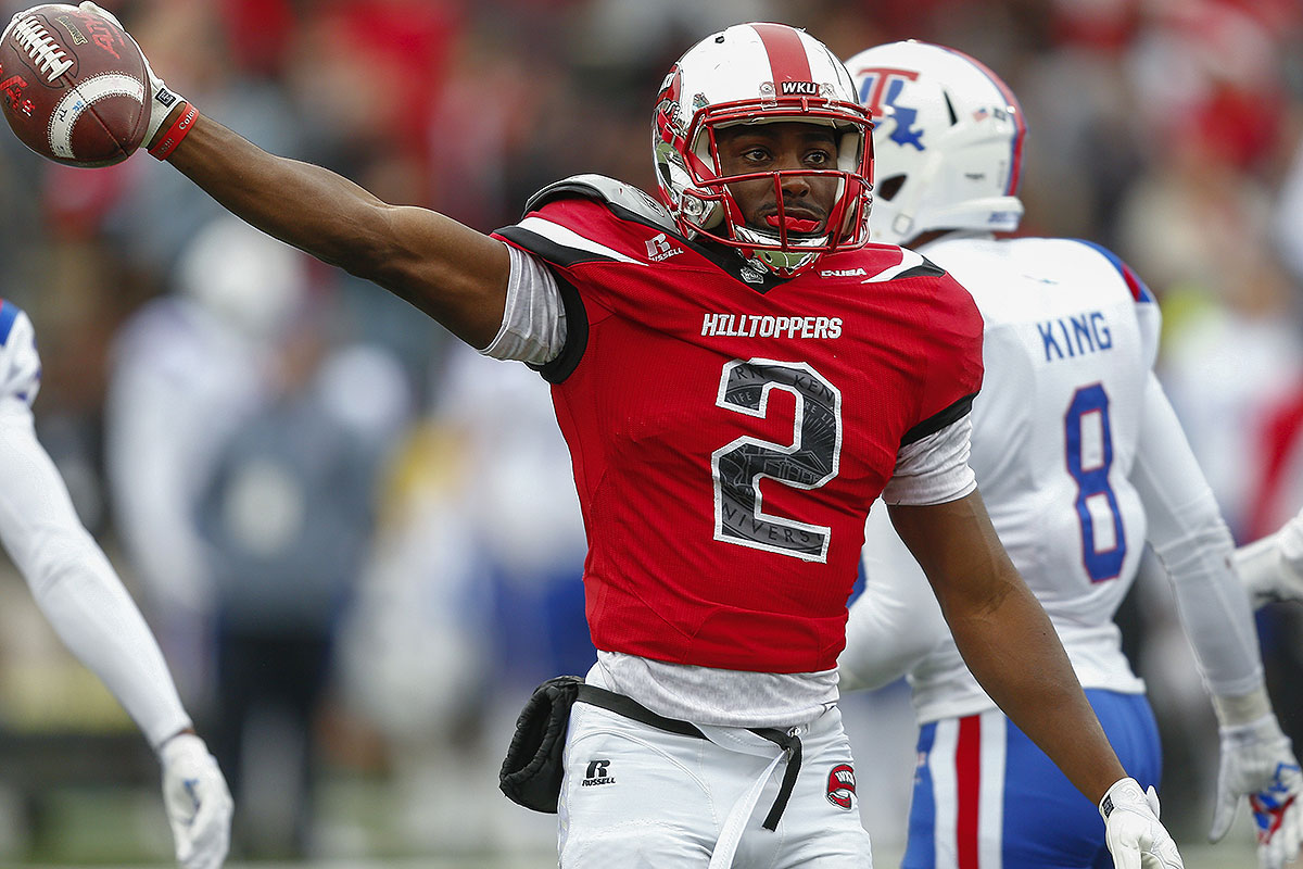 The marquee weapon of the Hilltoppers' pass-happy offense, Taylor projects as a productive slot man in the pros. He caught nine passes for 121 yards against Alabama this season.