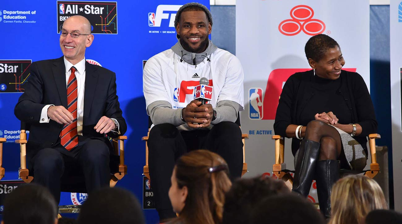 Adam Silver, LeBron James and Michele Roberts