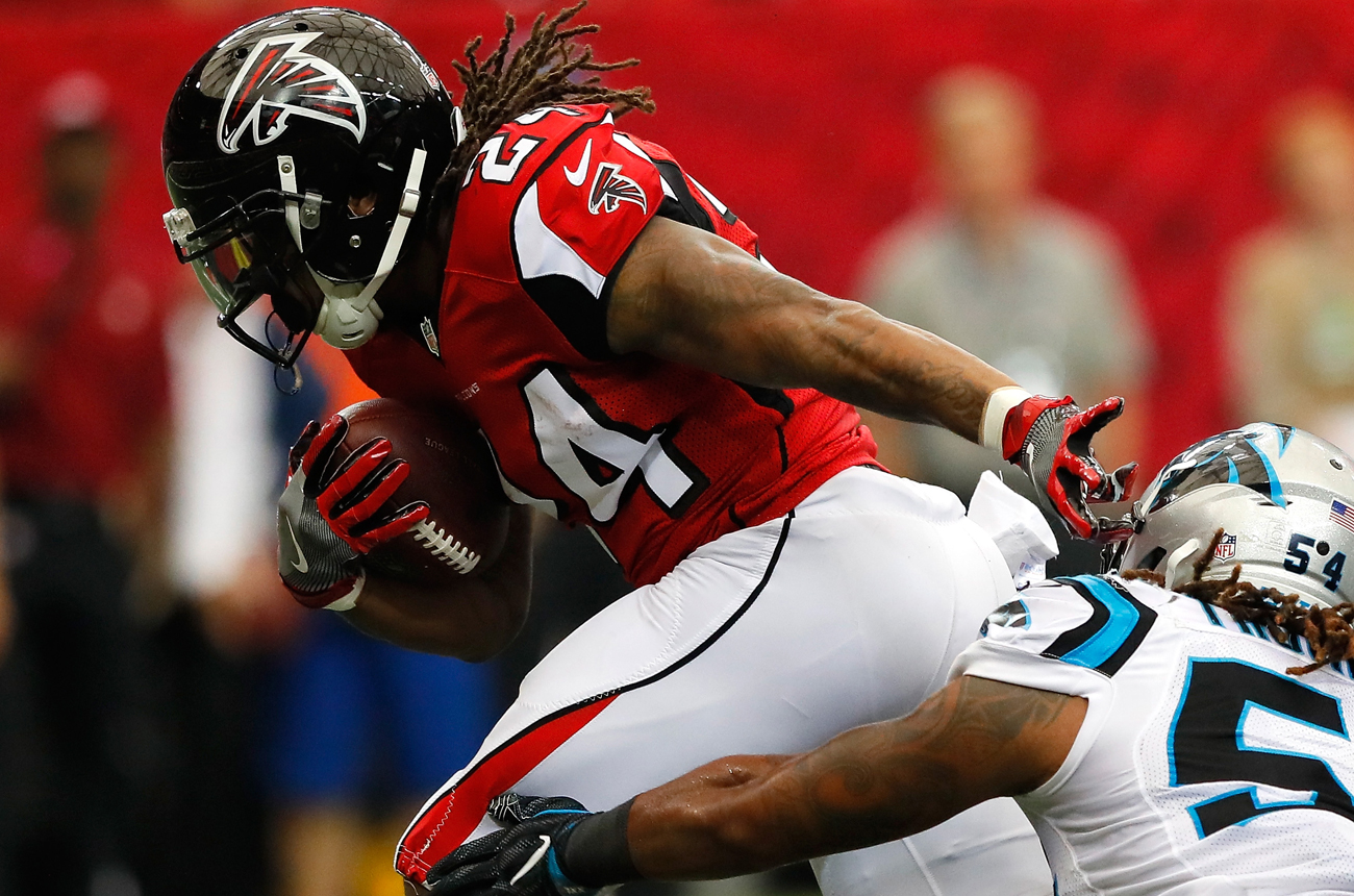 Devonta Freeman and the Falcons will be trying to lock up a playoff berth Saturday at Carolina.