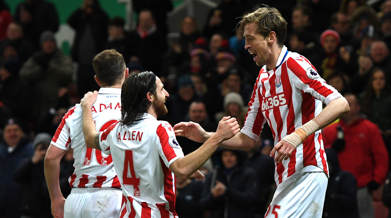Peter Crouch scores for Stoke City vs Watford in the Premier League