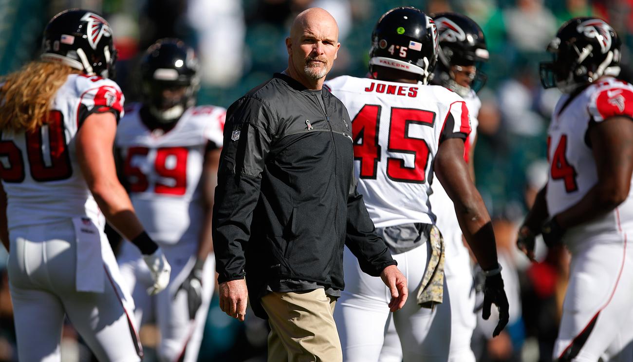 Dan Quinn has a 19-13 record in his first two seasons as the Falcons head coach.