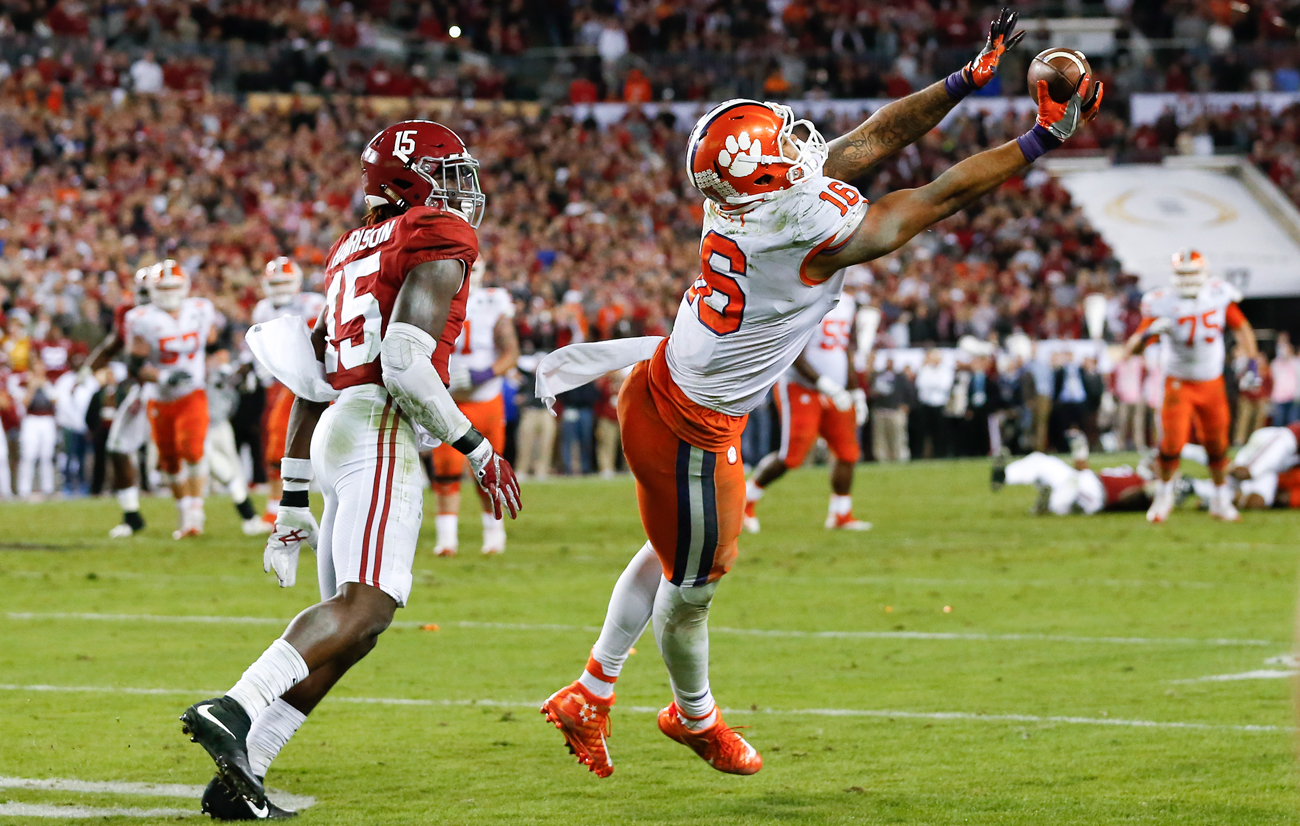 Jordan Leggett's twisting catch on the final series helped Clemson beat Alabama and secure the school's first national title since 1981.