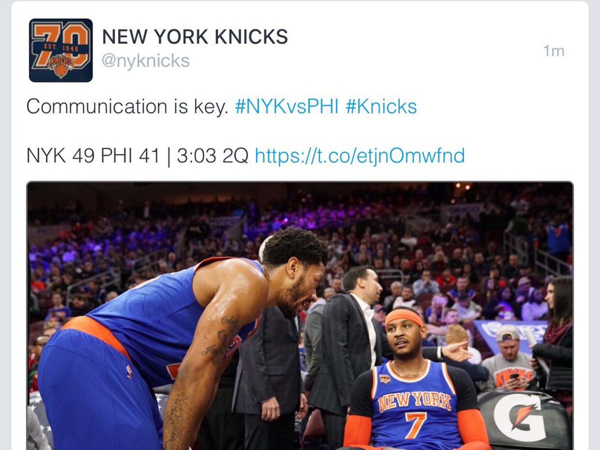 Knicks tweet