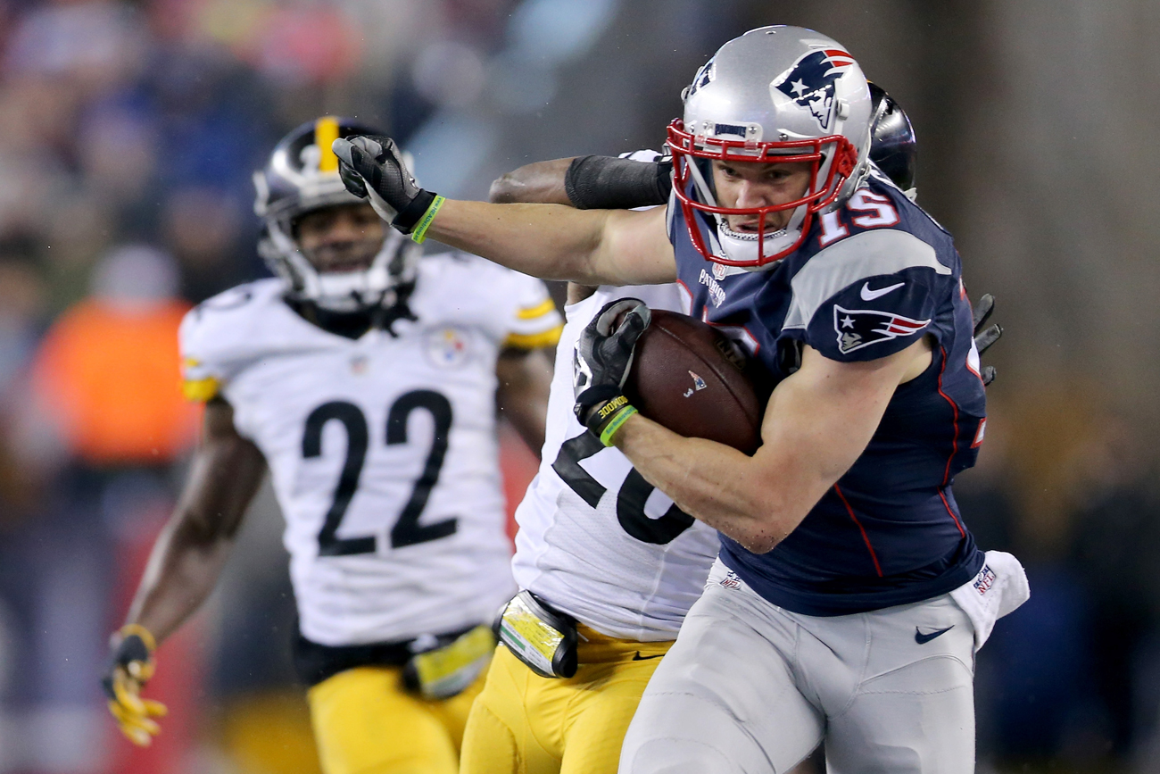 The Steelers defense had no answer for Chris Hogan, who finished with nine catches for 180 yards and two touchdowns.