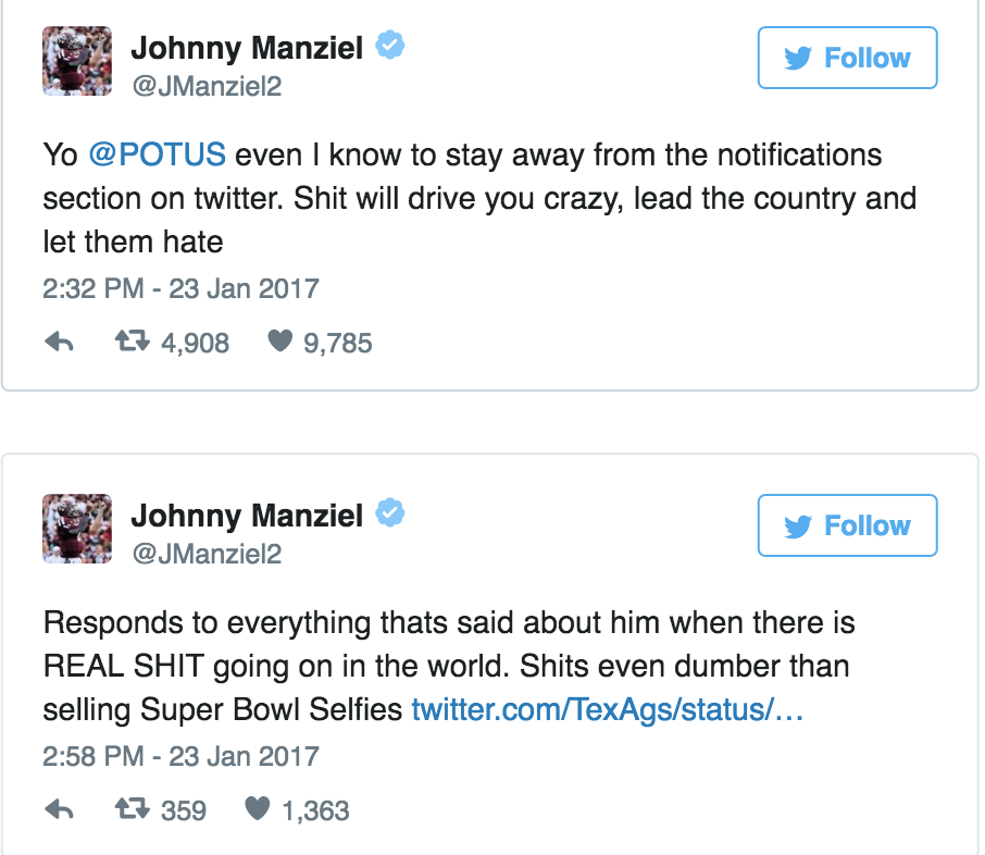 johnny manziel tweets donald trump advice