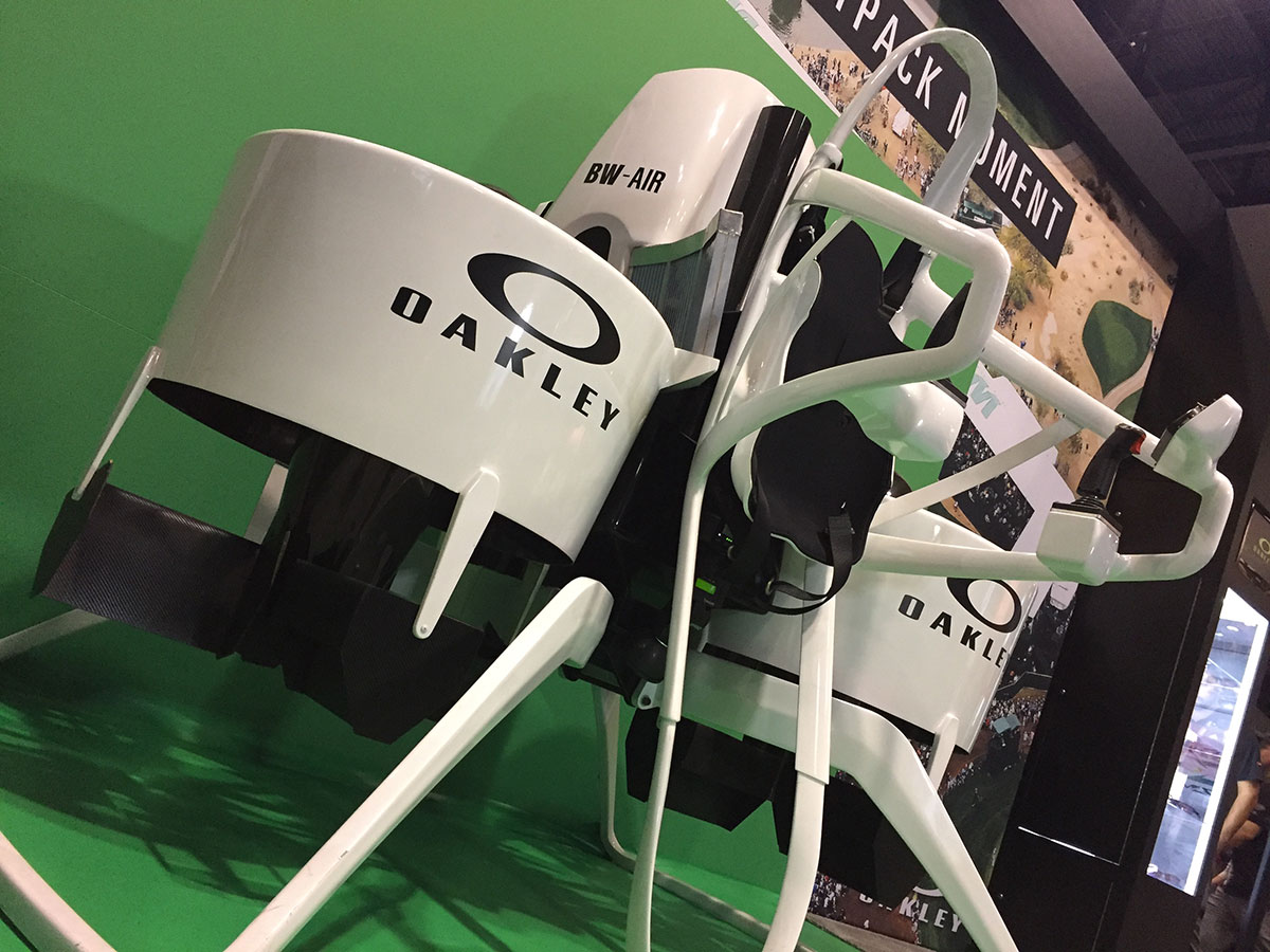 Now this can speed up a round! Bubba Watson's jetpack was on display on the show floor.