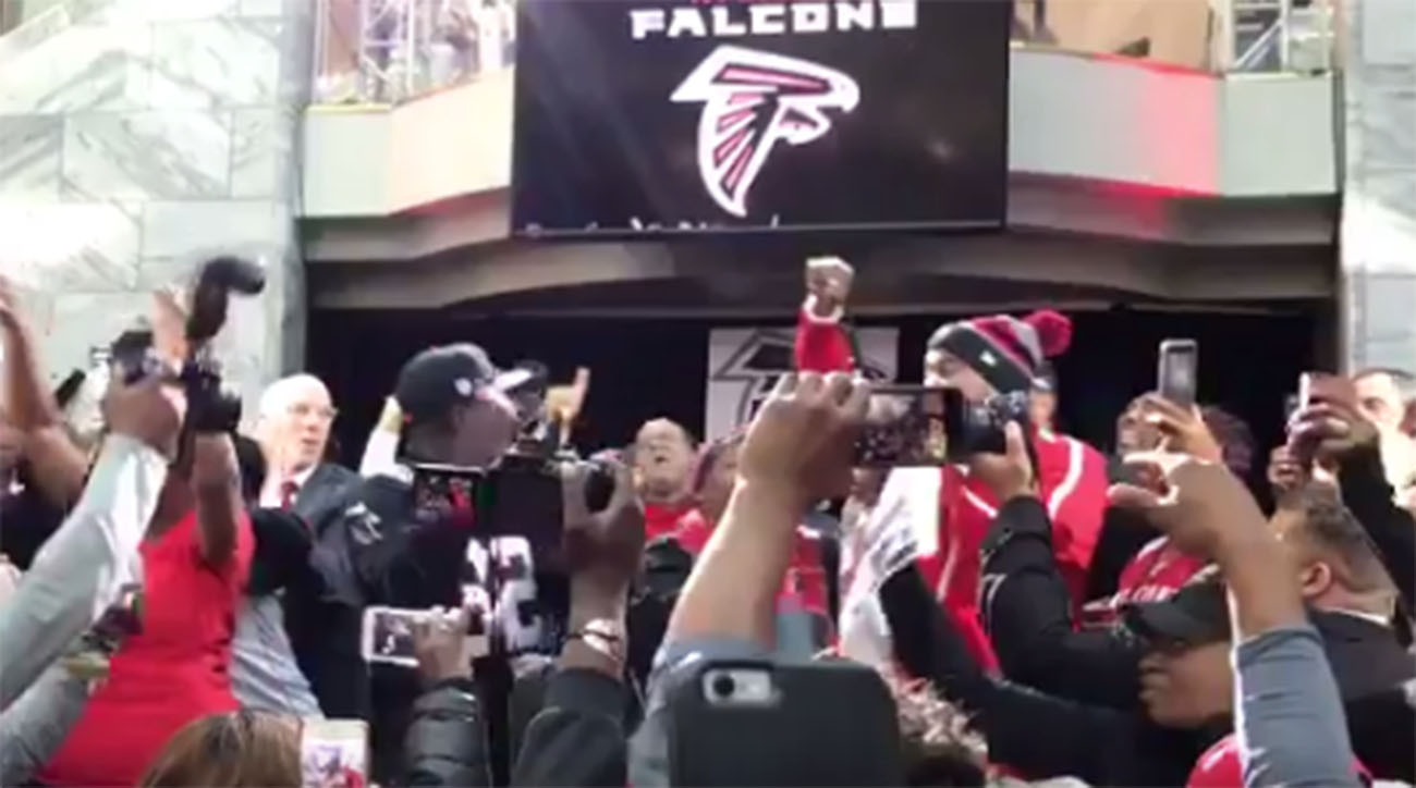 Atlanta Falcons Super Bowl pep rally is turnt up.