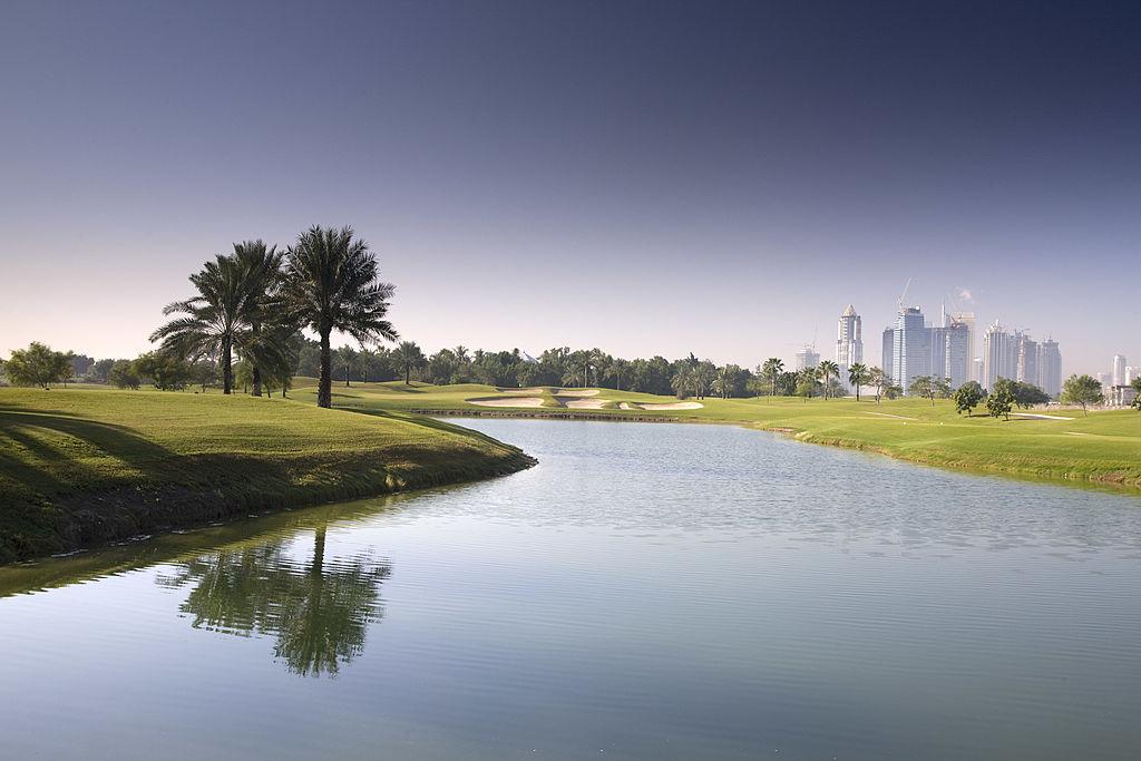 The par 3, 12th hole at the Faldo Course at the Emirates Golf Club in Dubai.
