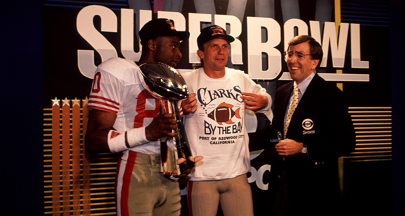 Brent Musburger was in the middle of many historic NFL moments, like the 49ers' 55-10 Super Bowl victory over the Broncos in 1990.