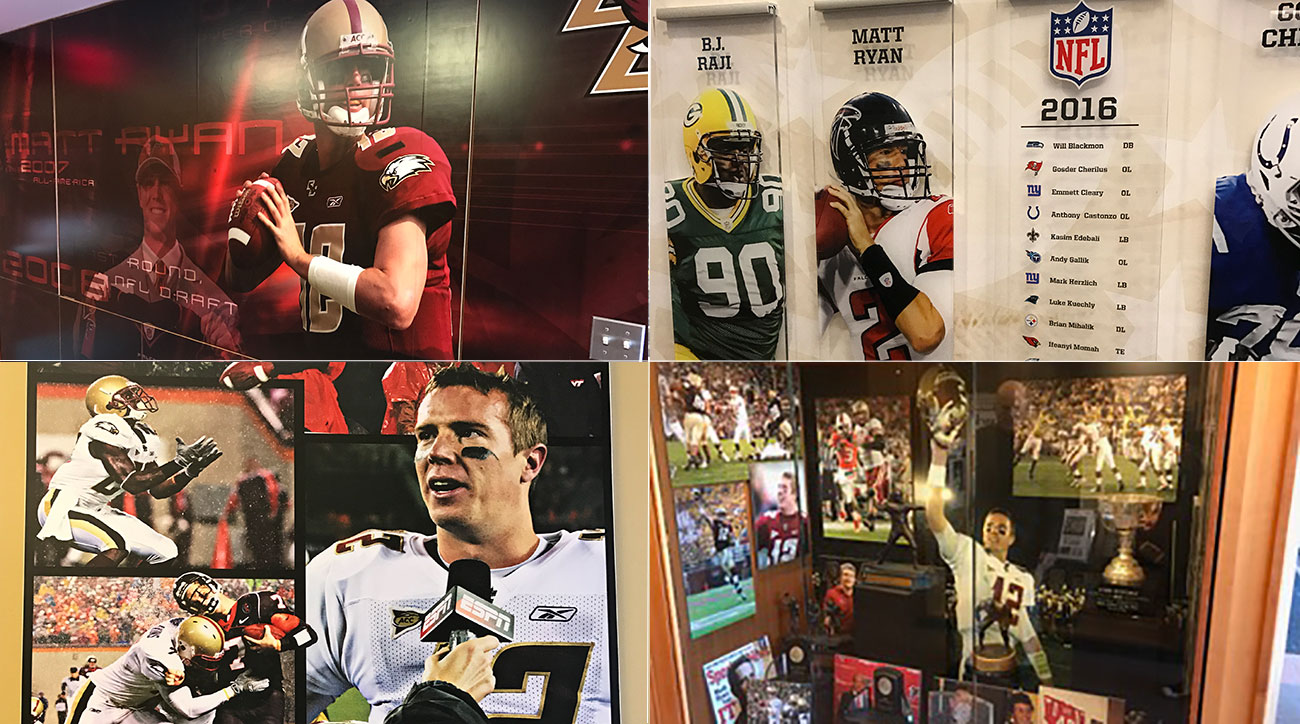 Ryan's likeness dominates the halls of Boston College's football offices in Chestnut Hill.