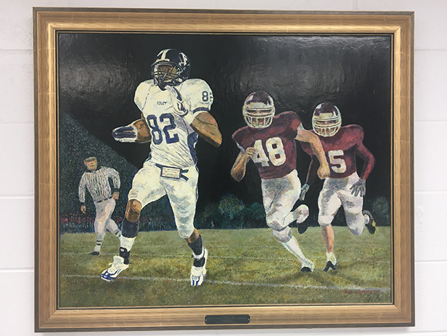 A painting of Jones that hangs in the Foley principal's office.