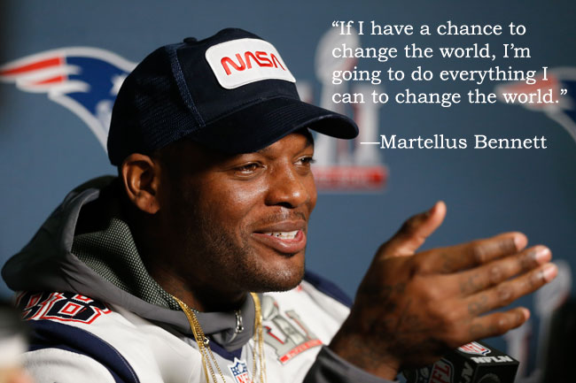 New England Patriots tight end Martellus Bennett addresses the media in Houston.