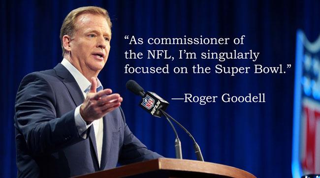 Roger Goodell addresses the media at Super Bowl 51 in Houston.