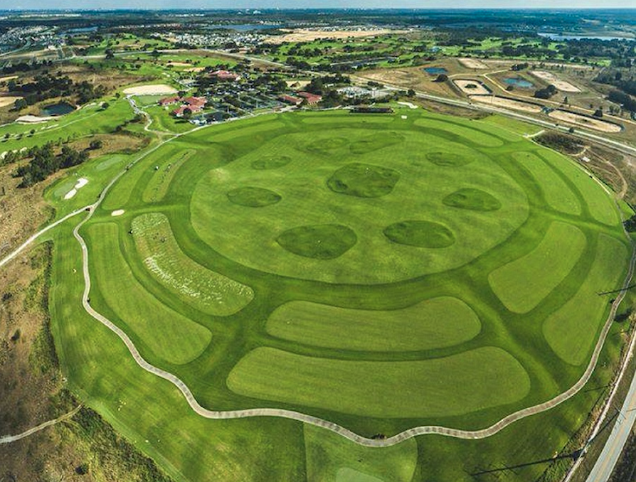 A look at Orange County National's 360 degree driving range from above.