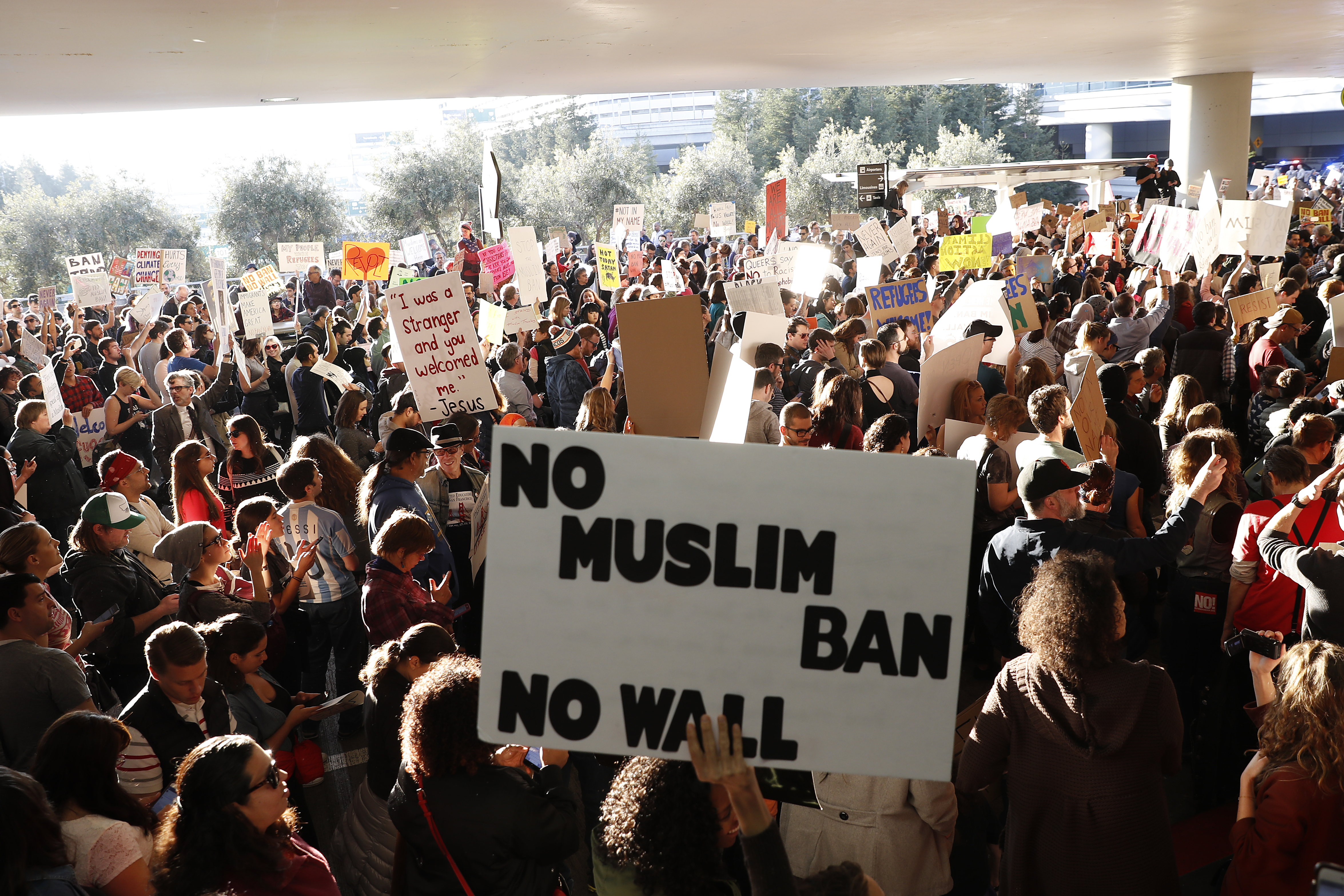 Protesters gathered at San Francisco International Airport this week to demonstrate against Trump's recent immigration order.