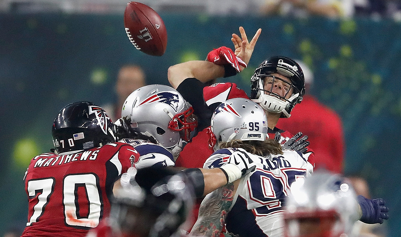 The Super Bowl began to go south for Atlanta on this hit and lost fumble, the Falcons' first turnover of the playoffs.