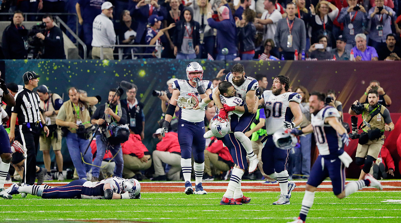The Patriots scored a walkoff touchdown to win the first overtime game in Super Bowl history.