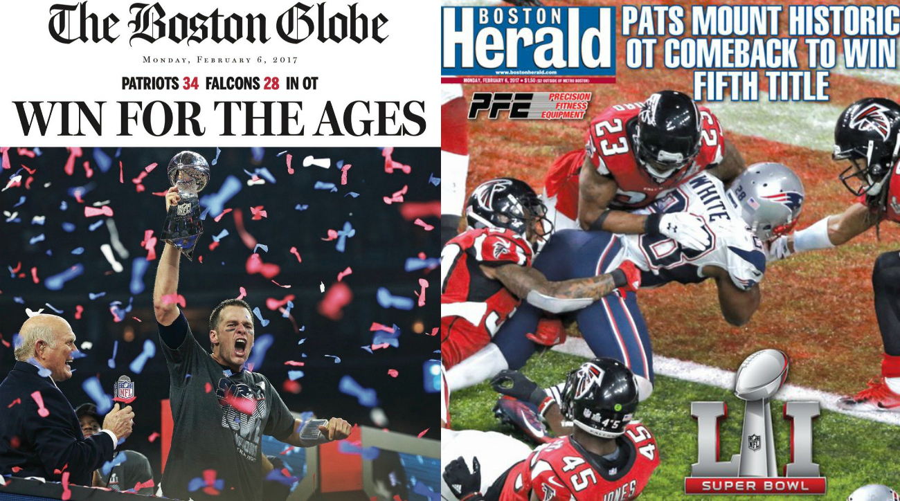 Patriots newspaper front pages: Boston Globe, Herald