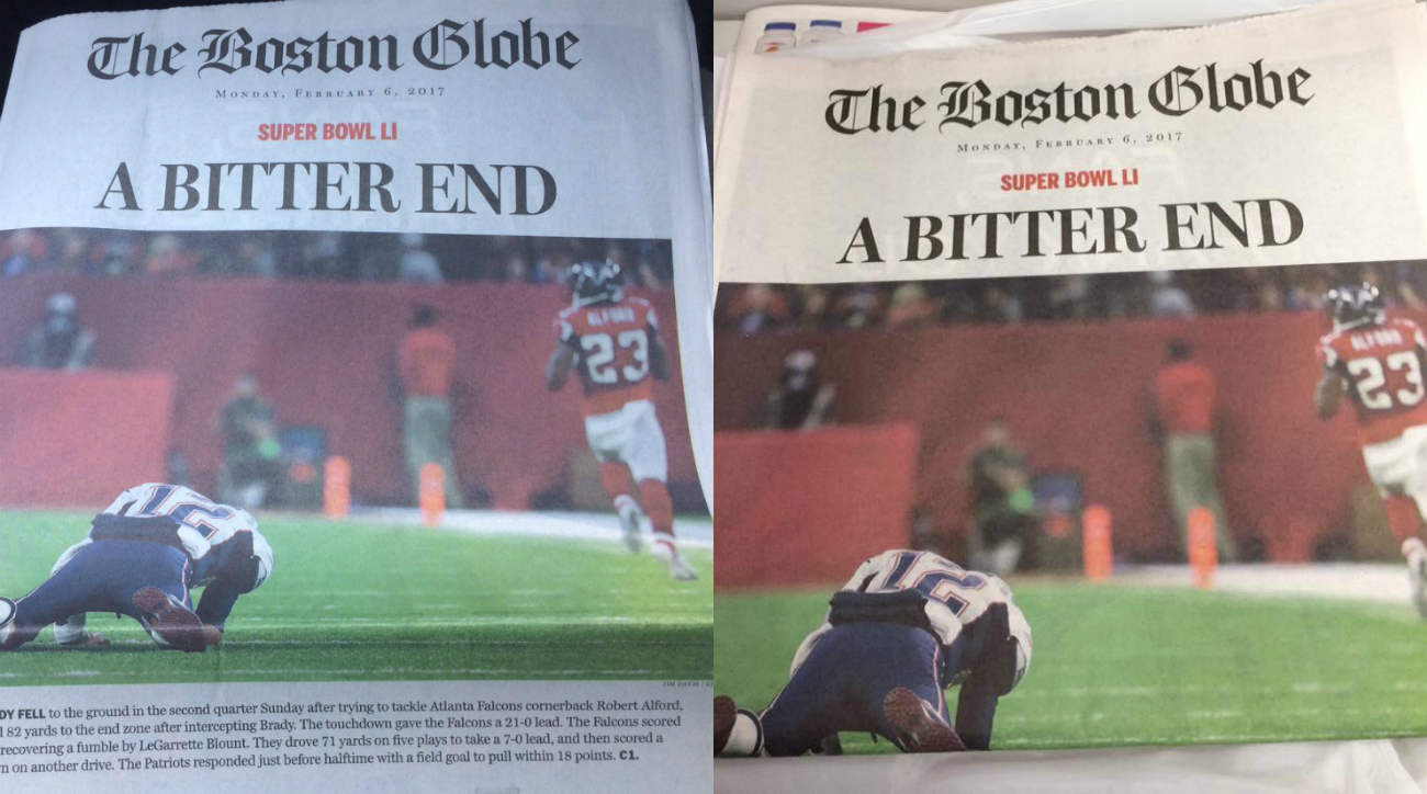 Patriots lose Super Bowl, Boston Globe front page says