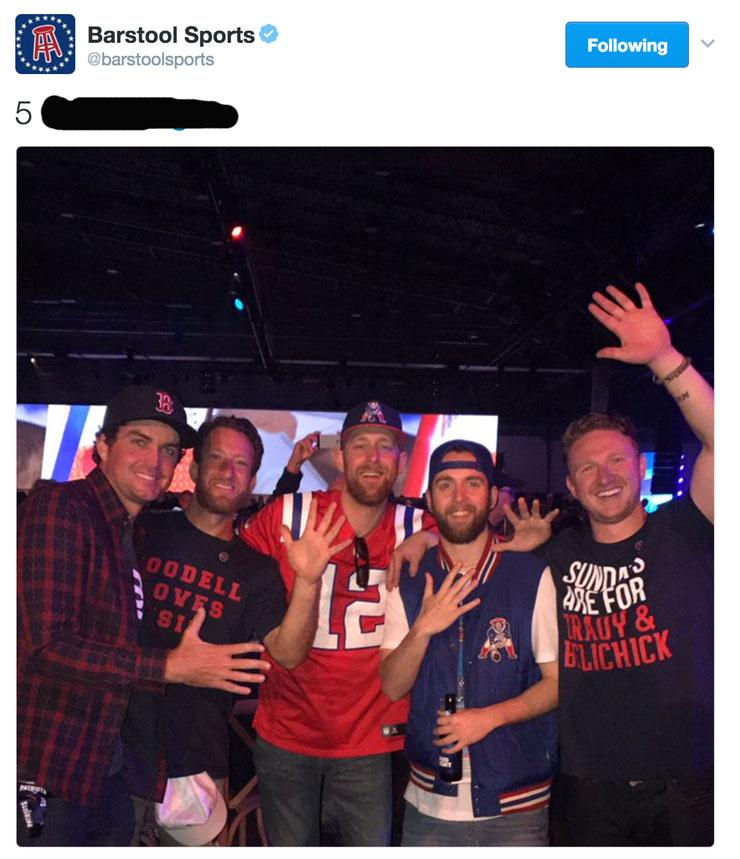 patriots four barstool celebration