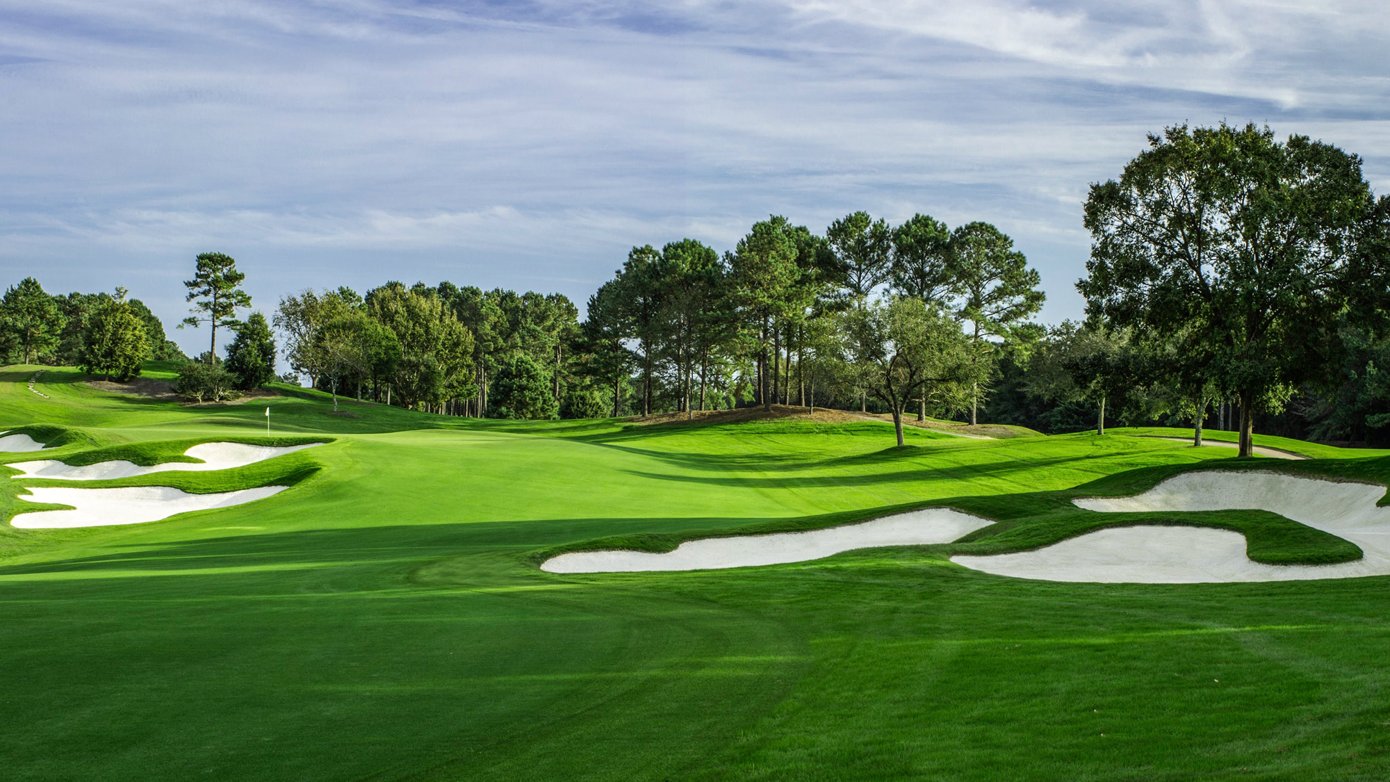 Quail Hollow welcomes the 2017 PGA Championship in August, so pinch-hitting in May as the host of the Wells Fargo Championship is this gorgeous Tom Fazio creation in Wilmington, N.C. The course edges the Intracoastal Waterway and features bold, handsomely sculpted bunkers and vast, rippling greens.