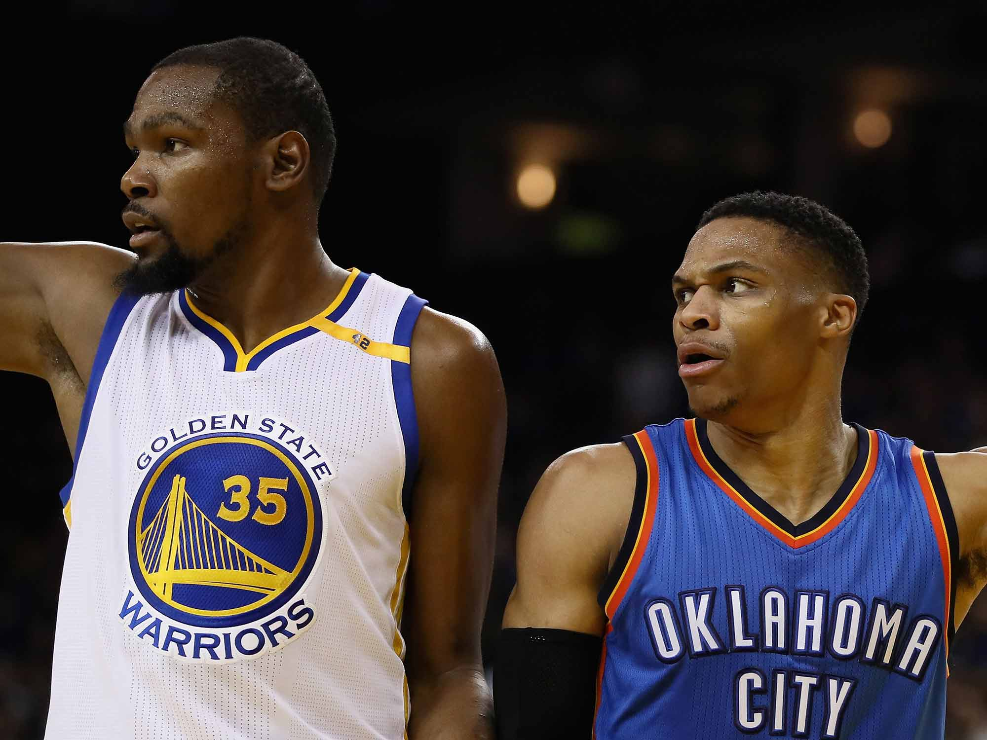 Kevin Durant and Russell Westbroo